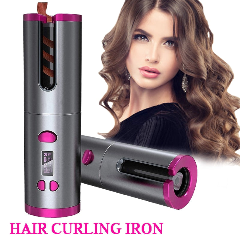 USB Cordless Hair Curler Ceramic Tongs Iron Curling Wand