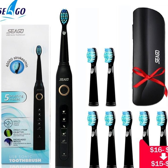 Seago Sonic Electric Toothbrush  Adult Timer 5 Mode USB Rechargeable Brush