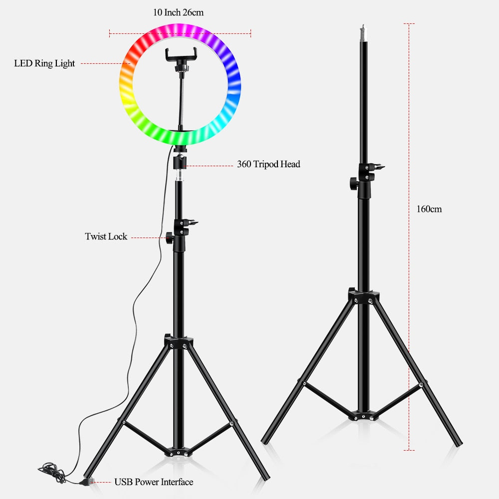 10 Inch 16 Colors Rgb Ring Lamp For Phone With Remote Camera Studio  48