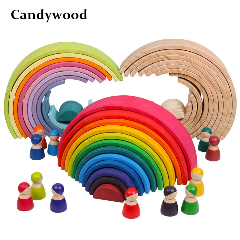 Wooden Rainbow Building Blocks Creative Educational Toy for Kids
