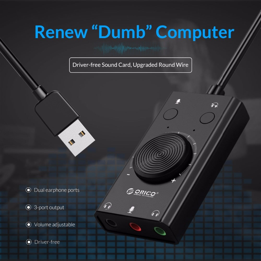 Portable USB External Sound Card Microphone Earphone Two in One  For Windows Mac Linux