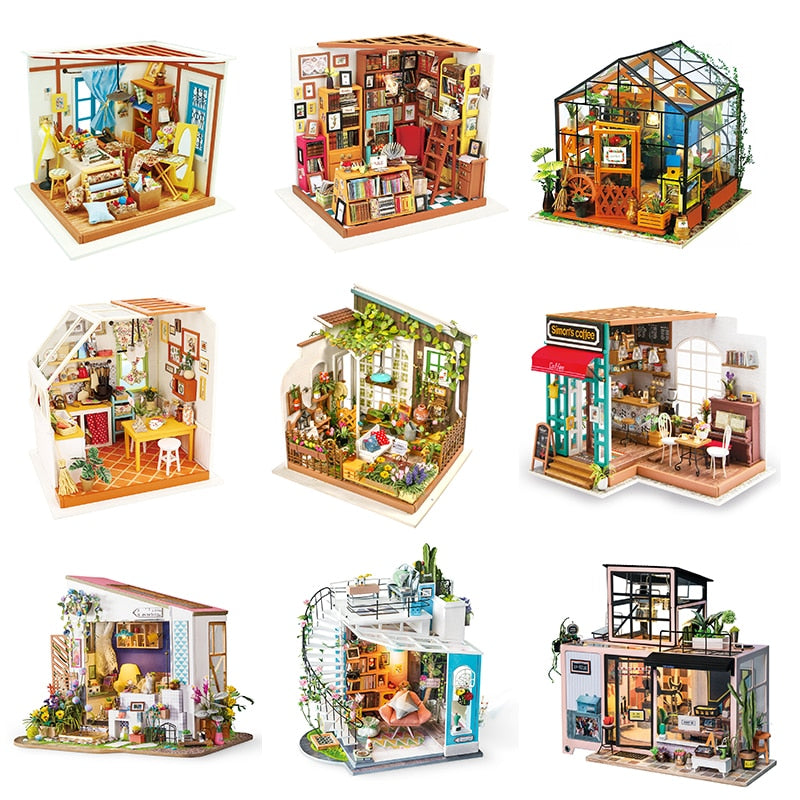 Robotime DIY Wooden Miniature Dollhouse Model Building Kits Toy