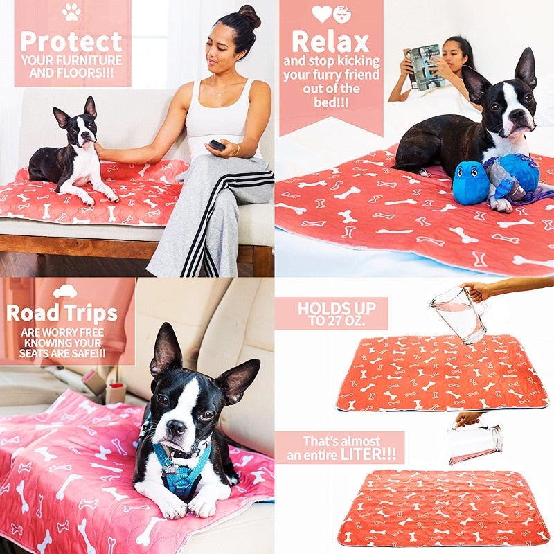 Waterproof Reusable Dog Bed Mats Dog Urine Pad Puppy Pee Fast Absorbing Pad for Pet Training