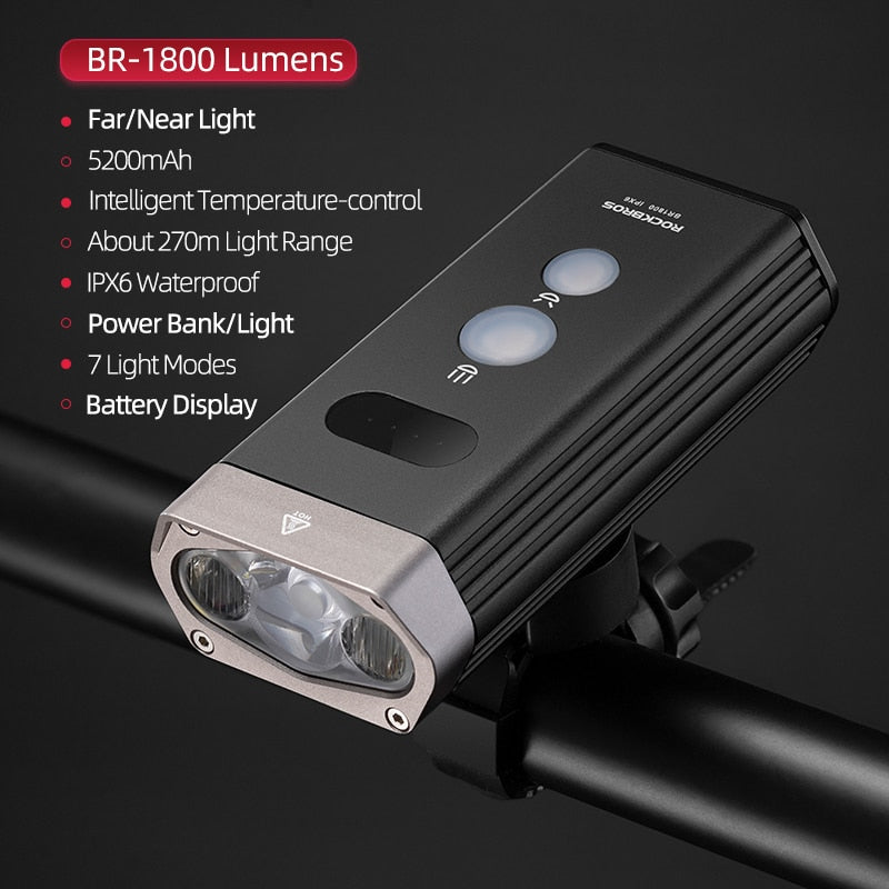 ROCKBROS Bike Light Rainproof USB Rechargeable LED  Front Headlight