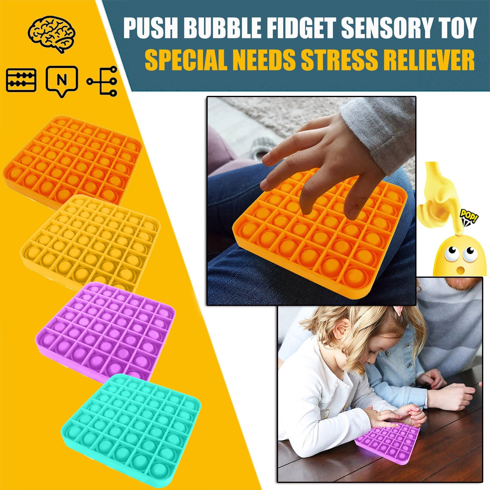 Push Bubble Fidget Sensory Toy Anxiety Reliever Kids Adults