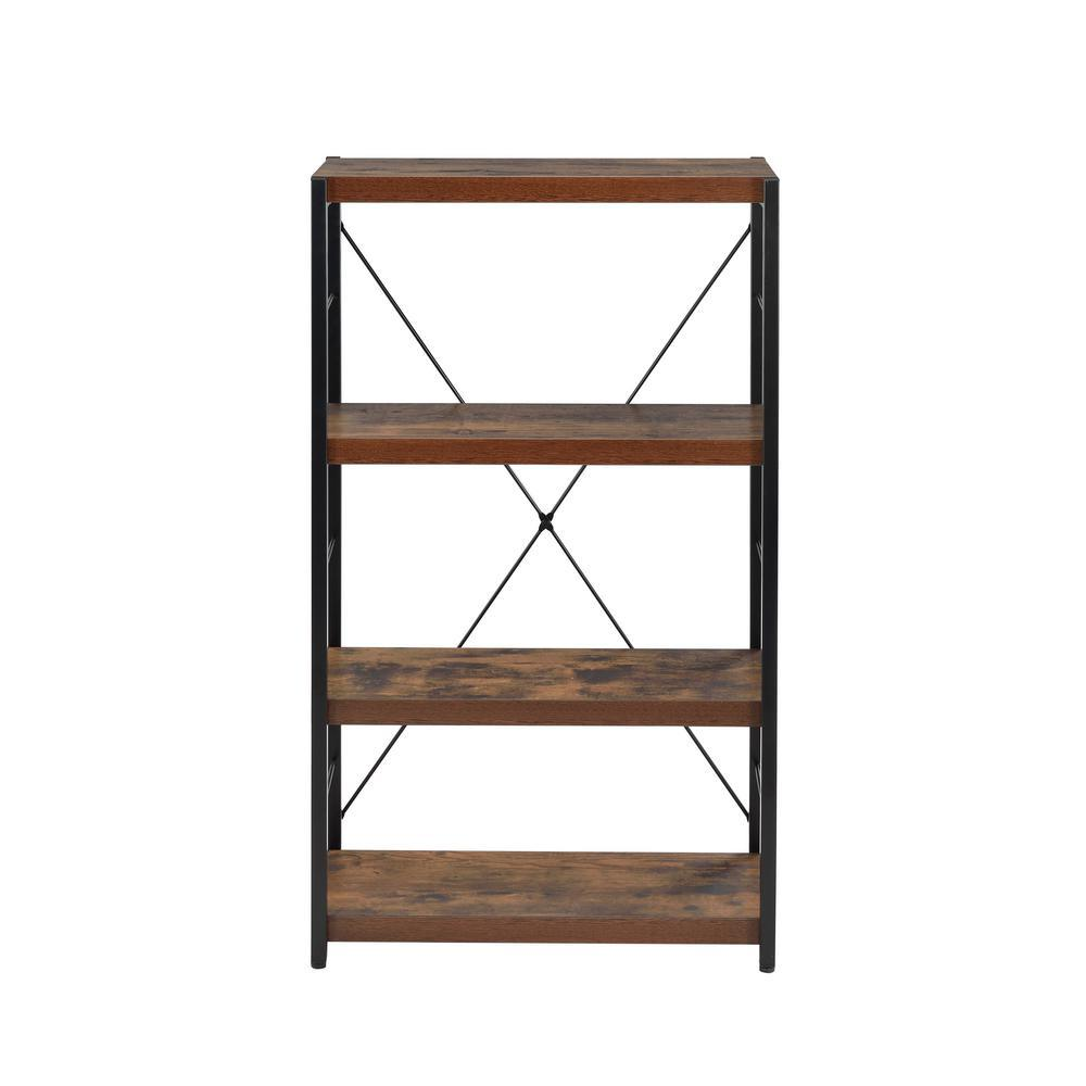 Large Open Bookcase, with 4 Shelves, Vintage, Industrial, Wood and Metal bookshelf