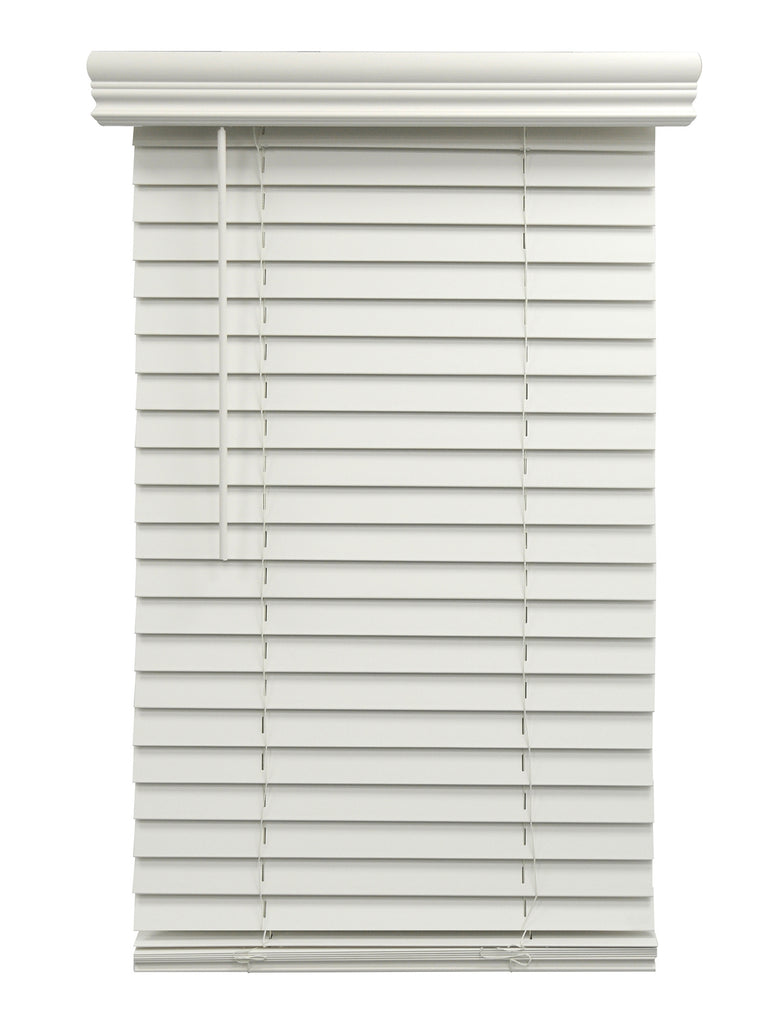 2inch Cordless Fauxwood Venetian Blind White 22.5 X 36 INCH Partial Inside Mount