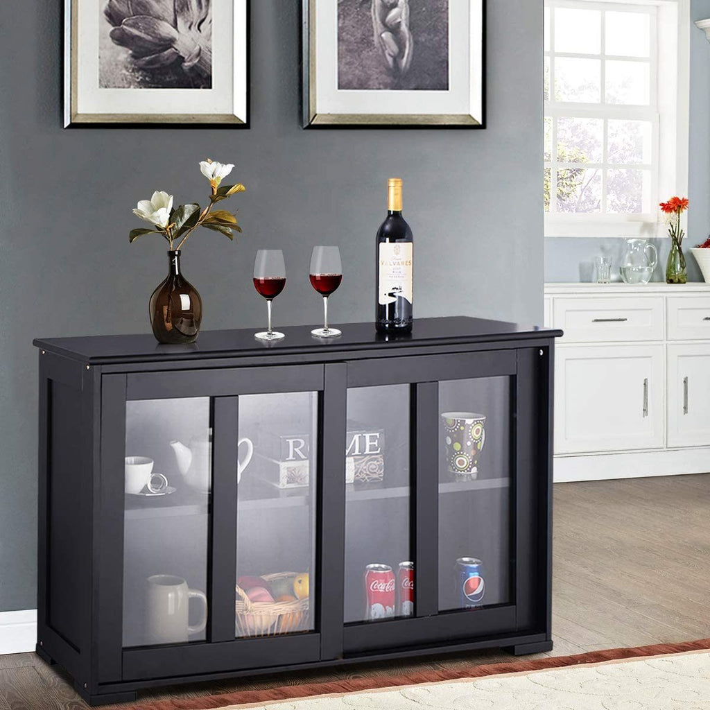 Kitchen Storage Sideboard Black Antique Cabinet with Glass Sliding Door