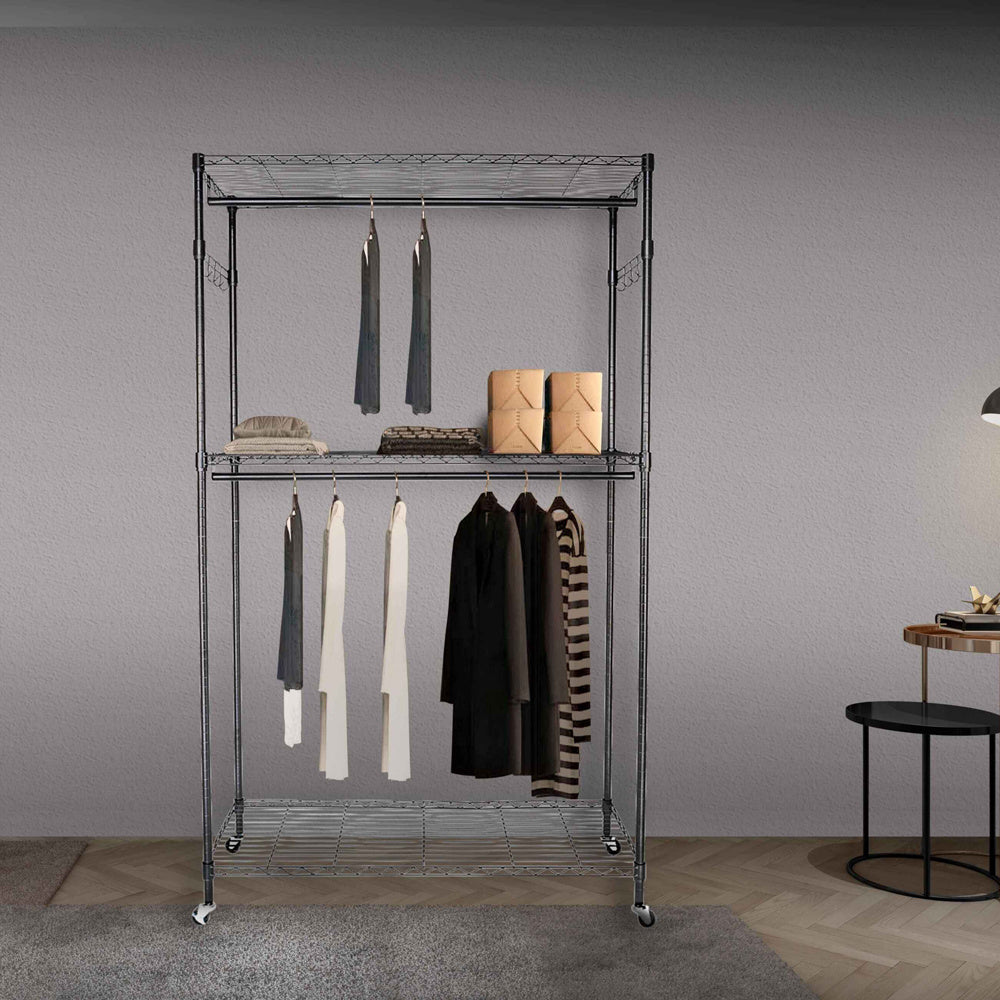 Double Rod Closet 3 Shelves Wire Shelving Clothing Rolling Rack Heavy Duty Garment Rack with Wheels and Side Hooks