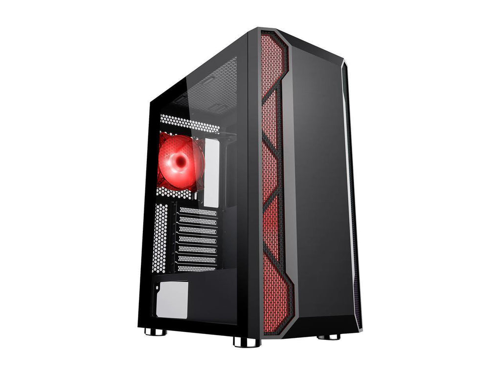 DIYPC Spyker-BK-ARGB Black Steel / Tempered Glass ATX Mid Tower Computer Case with 1 x 120mm Halo ARGB LED Fan Pre-Installed