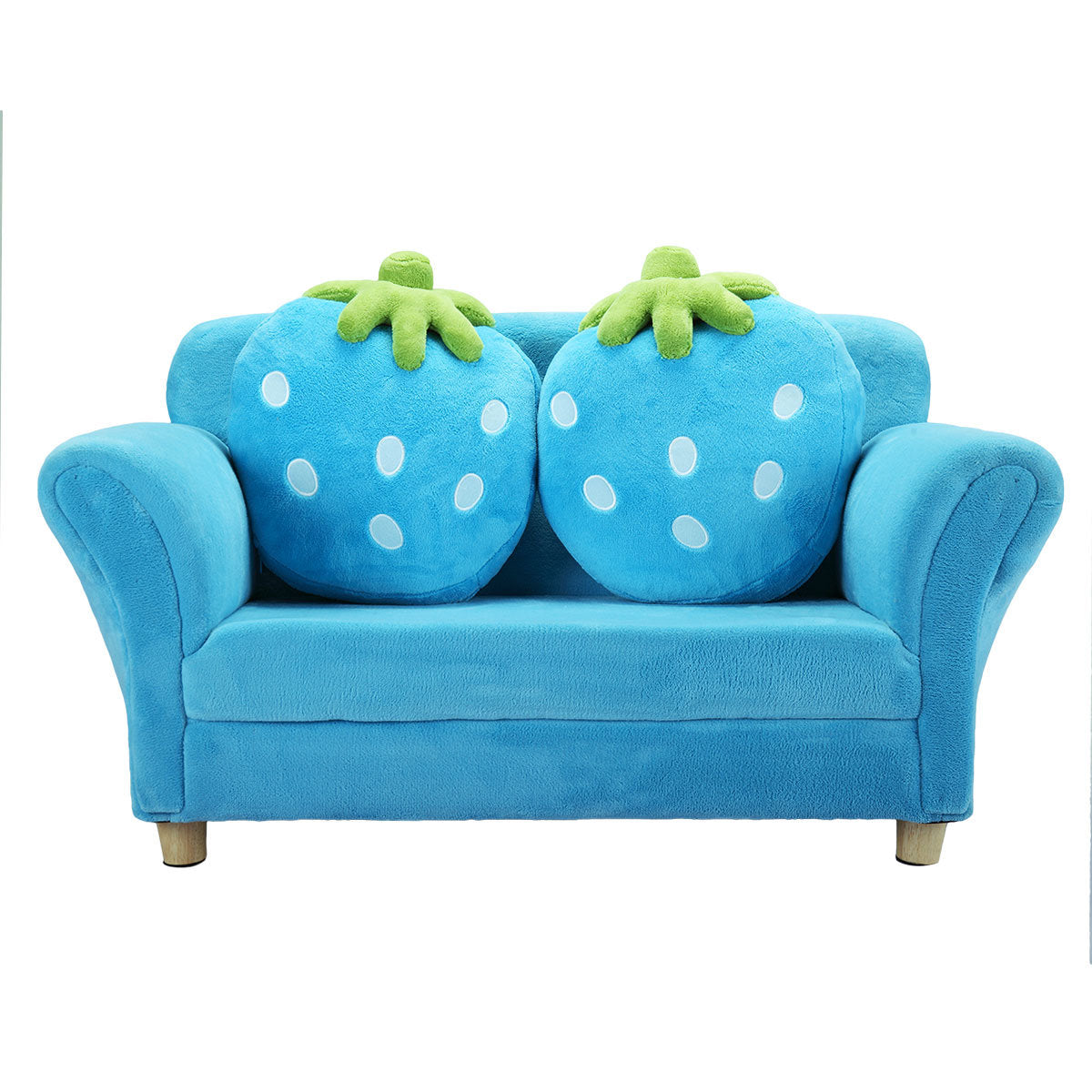 Kids sofa couch, with 2 Cute Strawberry Pillows, Armrest Chair Double Seats, Wooden Frame and Coral Fleece Surface
