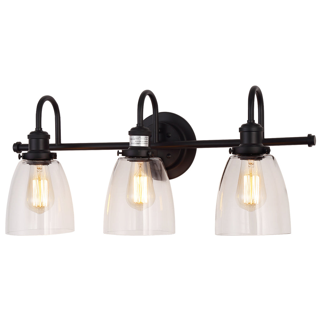 Wall Lamp Black metal Clear glass shade