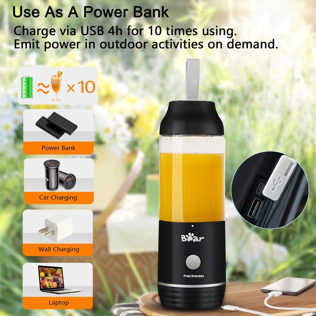 Personal Blender, Bear Portable Blender with 11.84oz BPA Free Tritan Blender Bottles, USB Rechargeable Blenders for Shakes and Smoothies