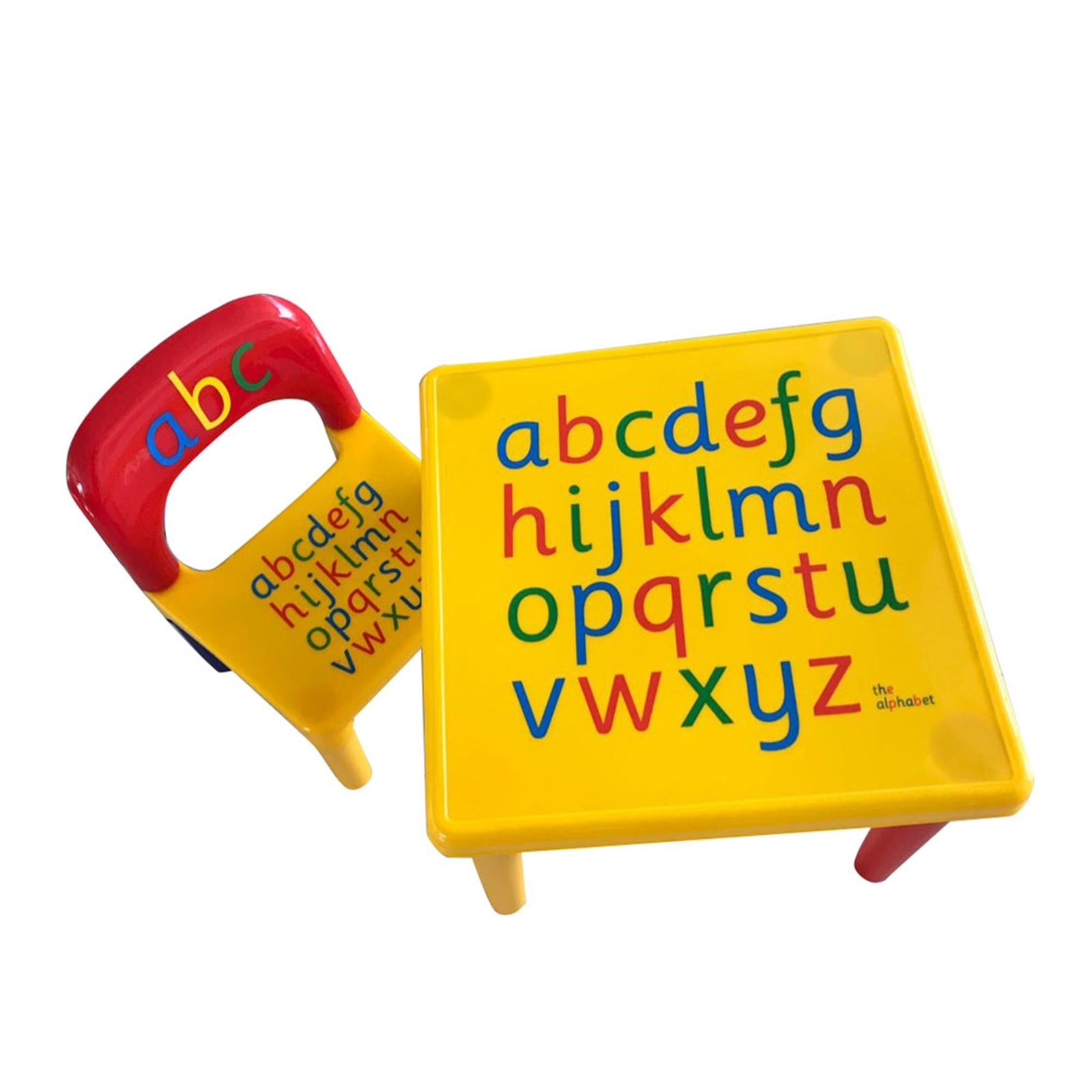 Kids Alphabet Table and Chair Set, Plastic Activity Furniture for Toddlers