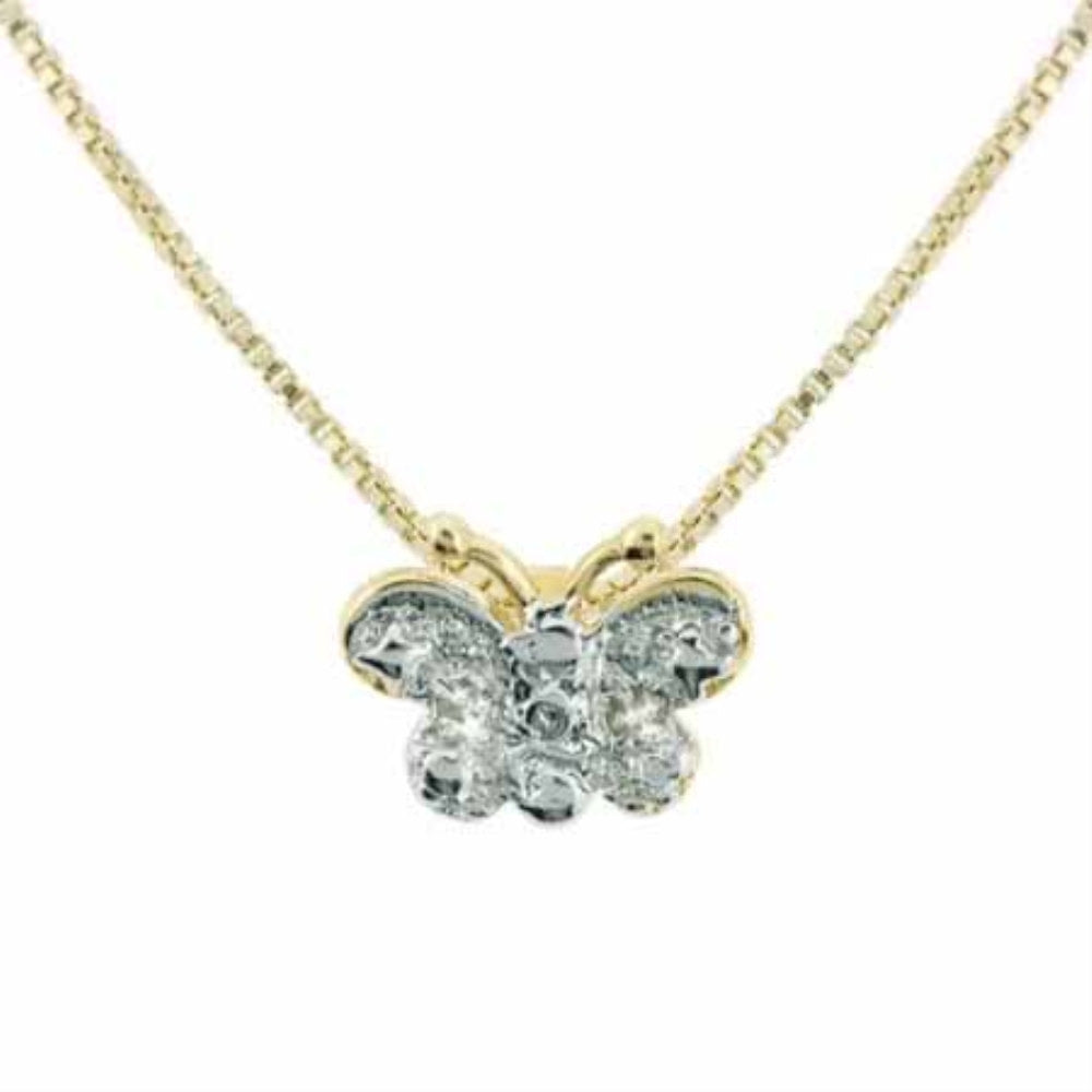 18K Gold over Sterling Silver Diamond Accent Butterfly Slide Pendant