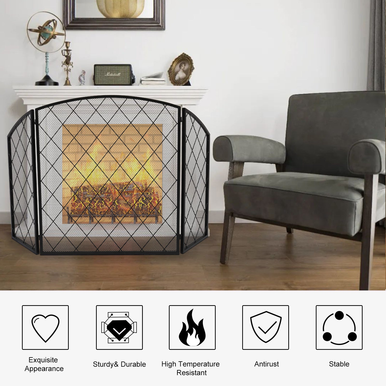 3-Panel 50x30in Wrought Iron Decorative Mesh Fireplace Screen Gate Protector Black