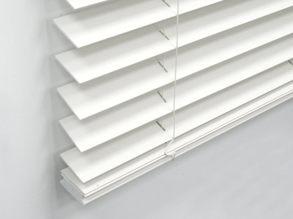2inch Cordless Fauxwood Venetian Blind White 18 X 48 INCH Partial Inside Mount
