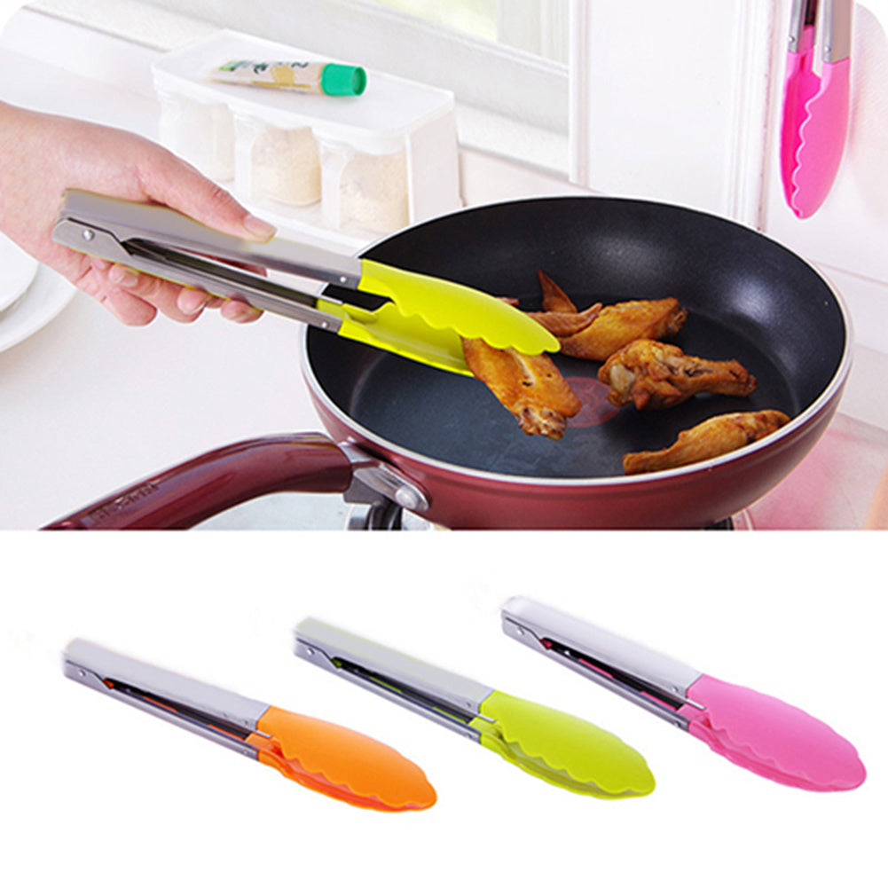 BBQ Tongs Stainless Steel Handle Cooking Serving Kitchen Utensil Silicone