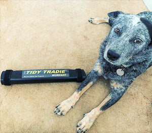 Dog protecting a small tidy tradie work mat