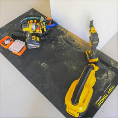 Tidy tradie work mat used to protect the work area.