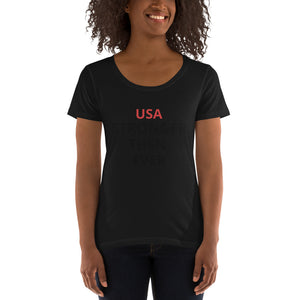 Ladies' Scoopneck T-Shirt USA STRONGER THEN EVER