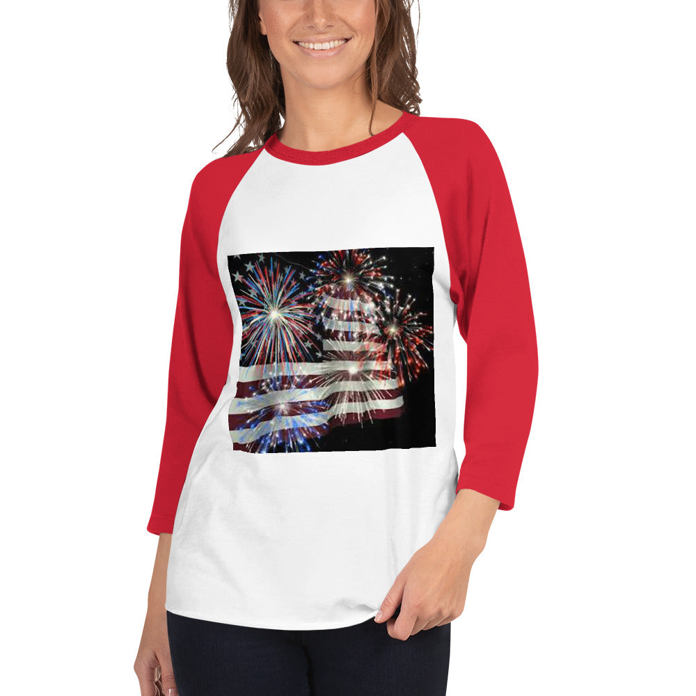 Women's USA FLAG INDEPENDENCE DAY, 3/4 SLEEVE