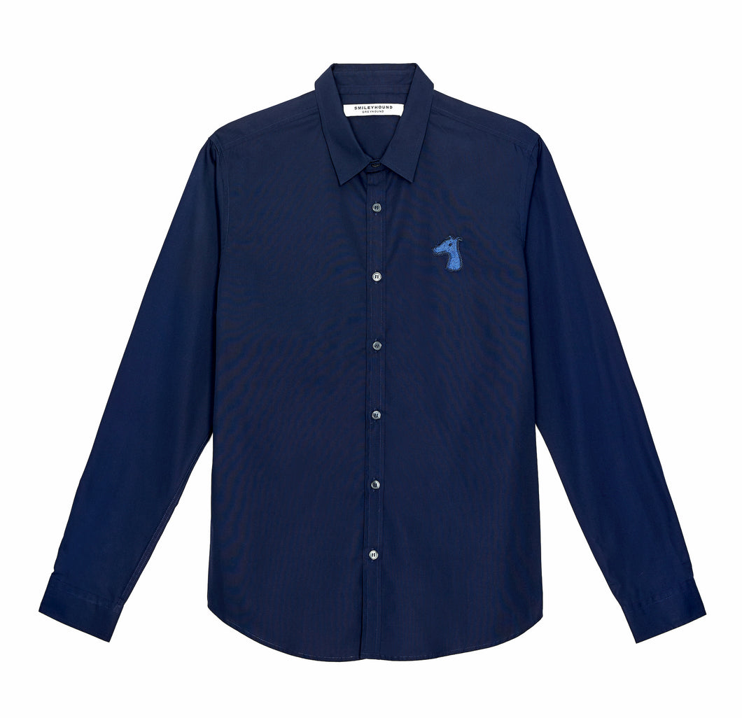 POPLIN SLIM FIT SHIRT WITH LOGO EMBROIDERED (A19MD01123NB1A)