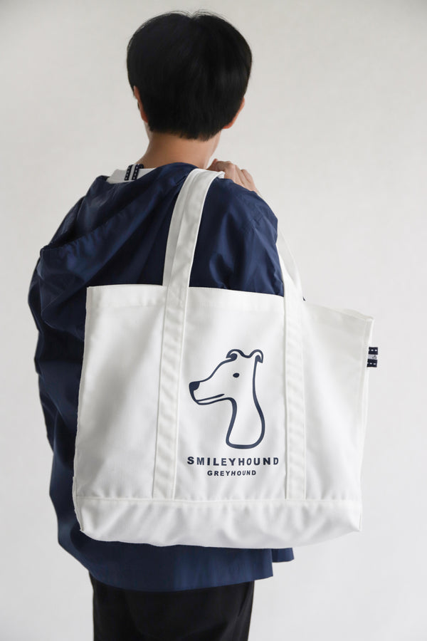 Smileyhound Canvas Tote Bag White