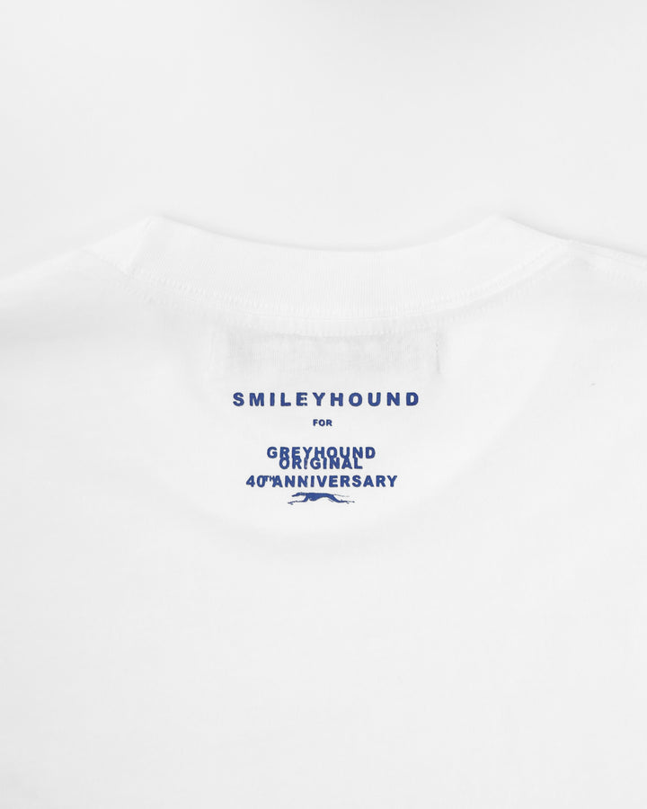 Smileyhound for Greyhound 40th Anniversary T-Shirt White
