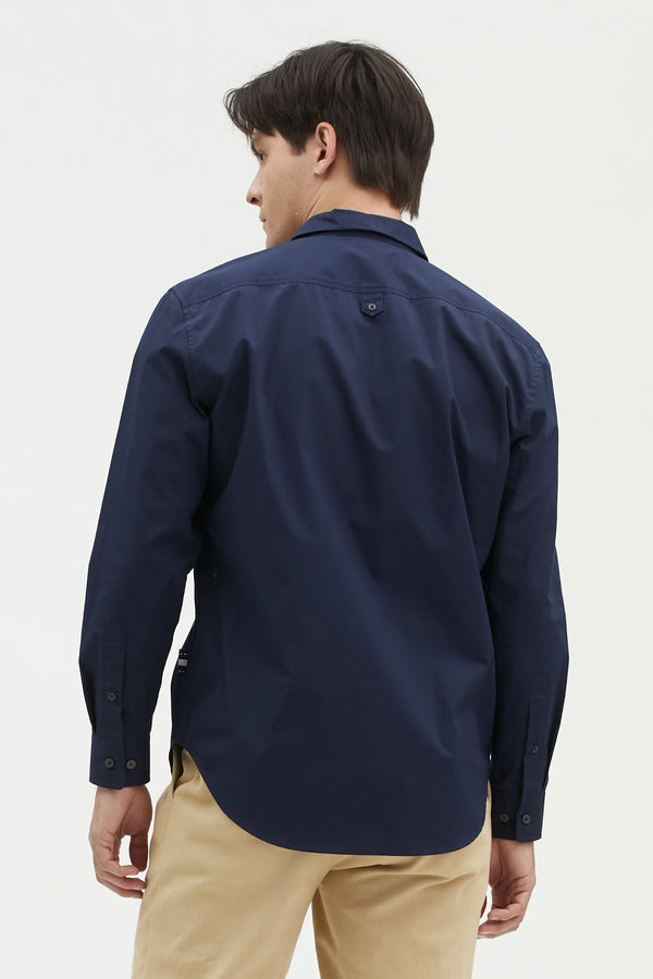 POPLIN REGULAR SHIRT WITH LOGO EMBROIDERED