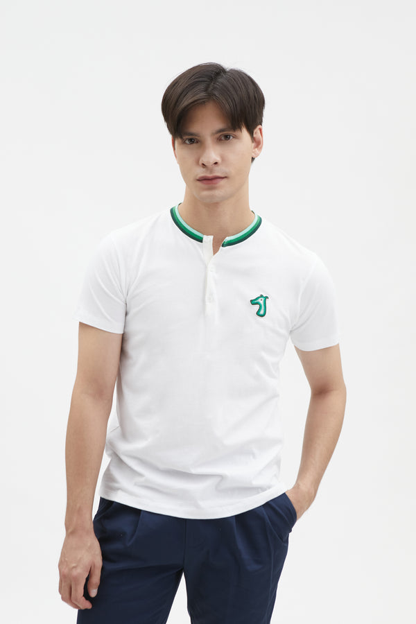 COTTON JERSEY HENLEY T-SHIRT WITH LOGO EMBROIDERED