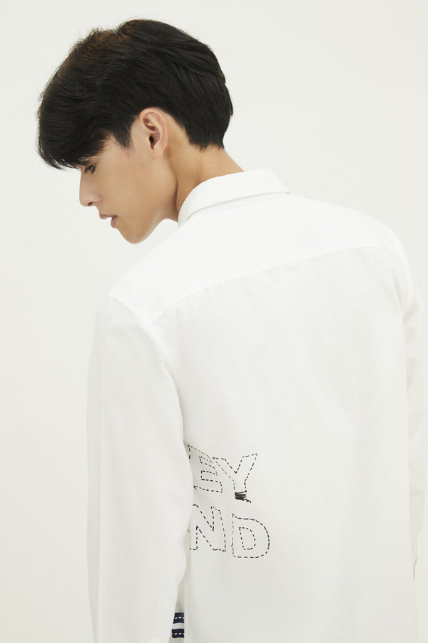 POPLIN SLIM SHIRT WITH LOGO EMBROIDERED (S20MD01022WH1A)