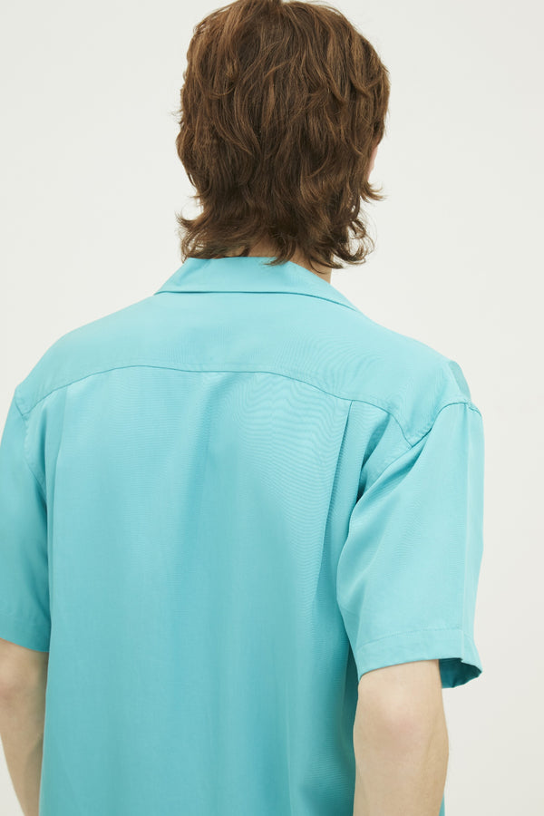 RAYON  POCKET OPEN COLLAR REGULAR SHIRT WITH LOGO EMBROIDED (S20MD01032LB1A)