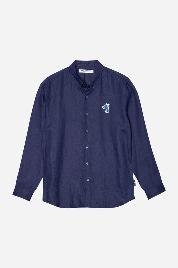 LINEN REGULAR SHIRT WITH LOGO EMBROIDED (S20MD01042NB1A)