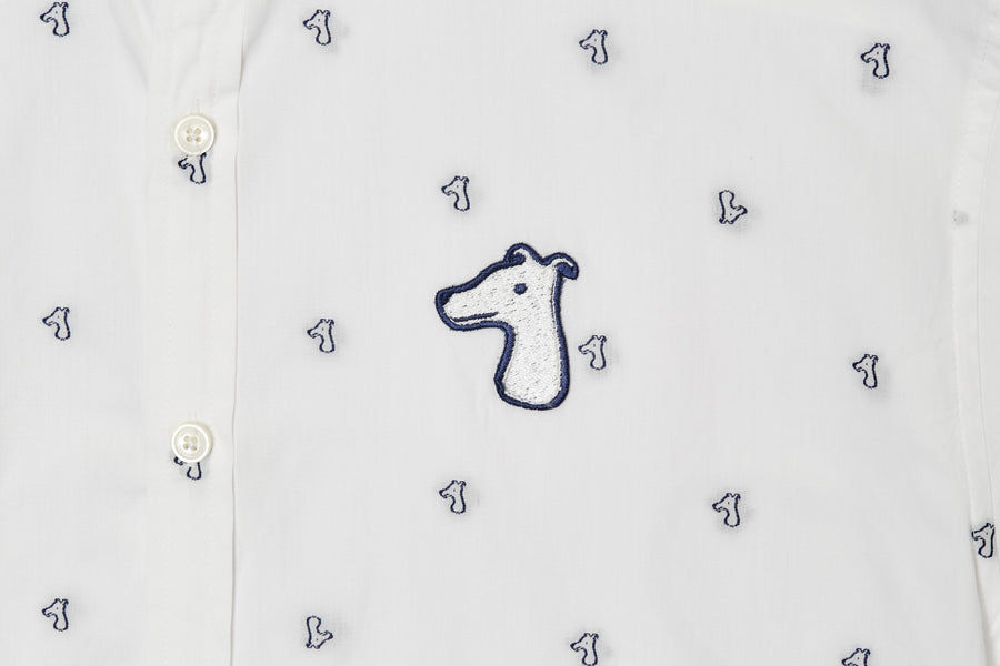 MONOGRAM JACGUARD DOG SLIM SHIRT  WITH LOGO EMBROIDED (S20MD01143WH1A)