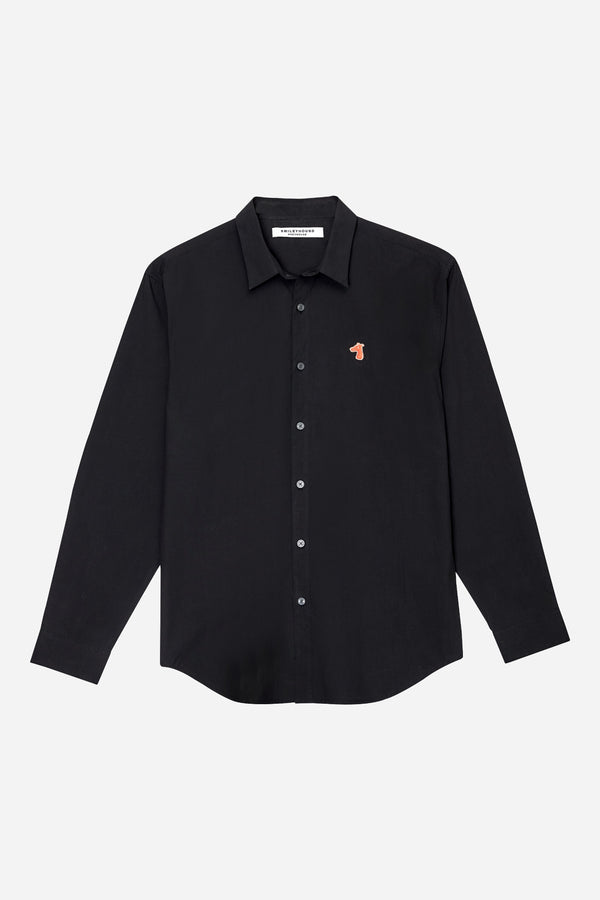 POPLIN REGULAR SHIRT WITH LOGO EMBROIDED (S20MD01183BK1A)