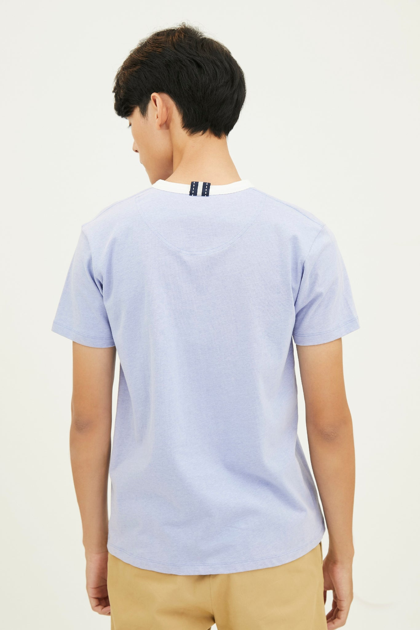 Load image into Gallery viewer, TOP DYED COTTON JERSEY HENLEY T-SHRIT  WITH LOGO EMBROIDED (S20MD03032NB1A)