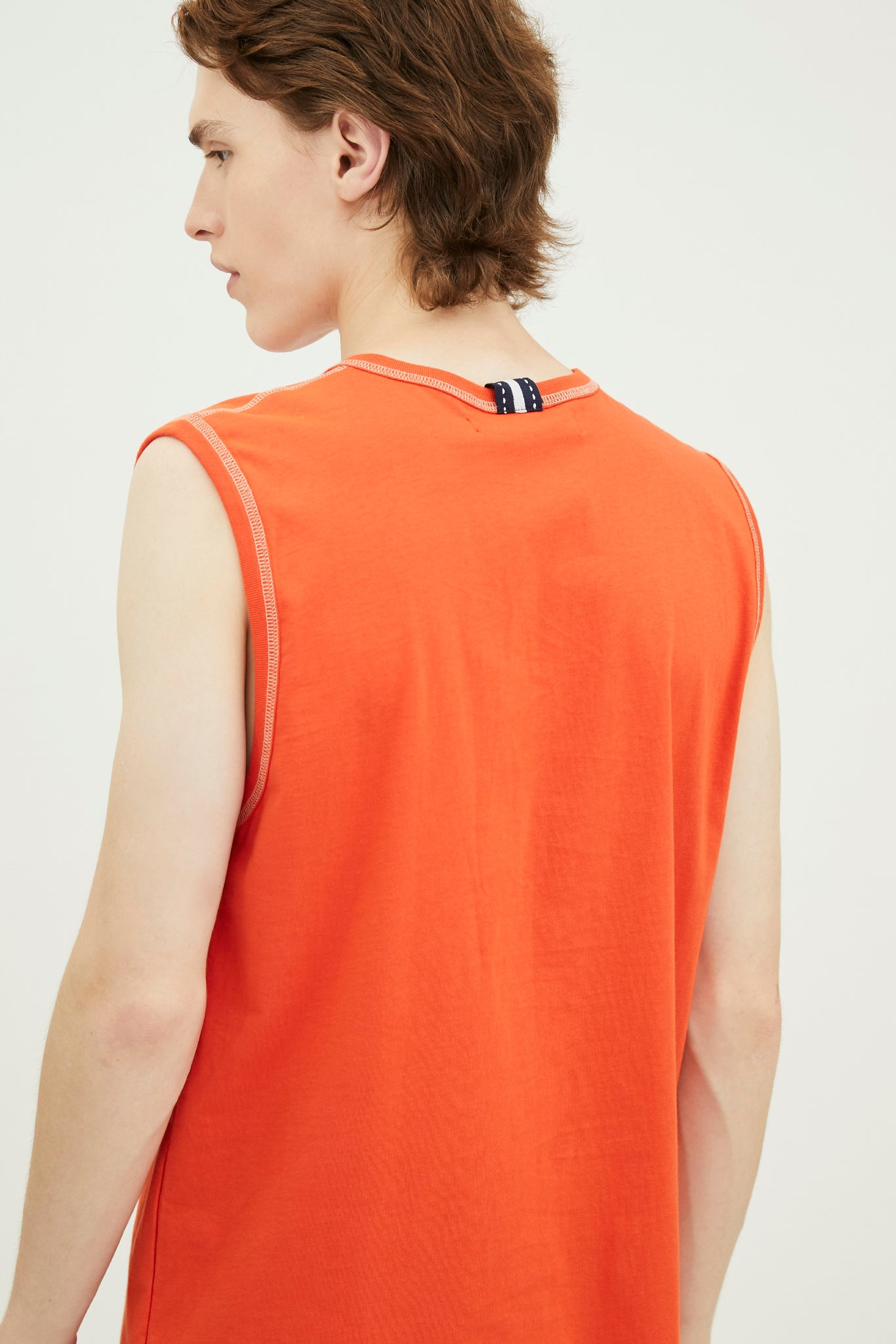 Load image into Gallery viewer, COTTON JERSEY TANK TOP WITH LOGO EMBROIDED  (S20MD03072OR1A)
