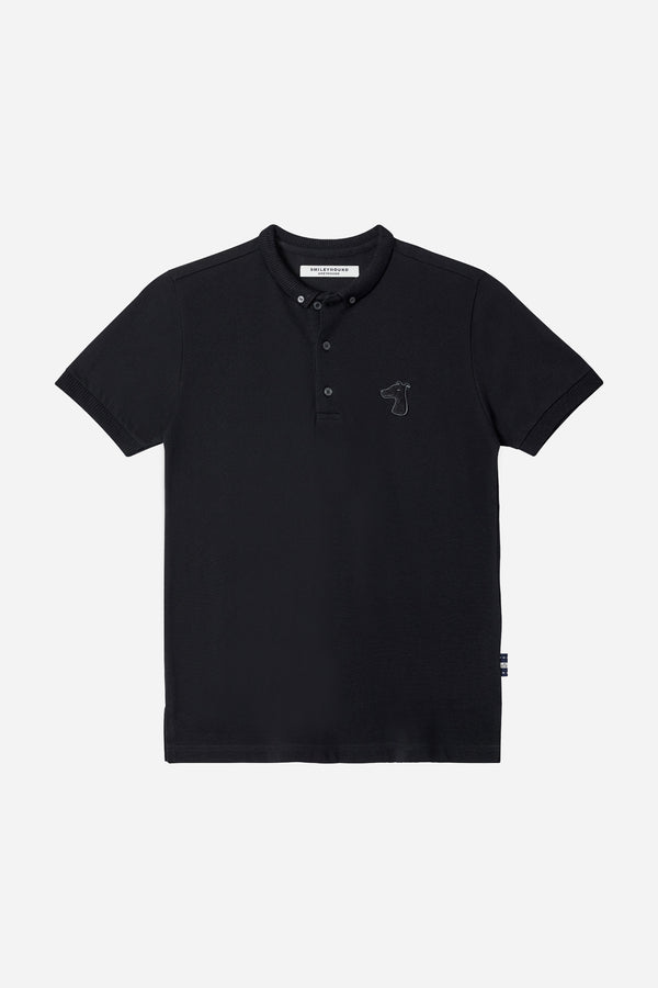 PIQUE COTTON DOWN POLO SHIRT WITH LOGO TONE ON TONE EMBROIDED (S20MD03193BK1A)