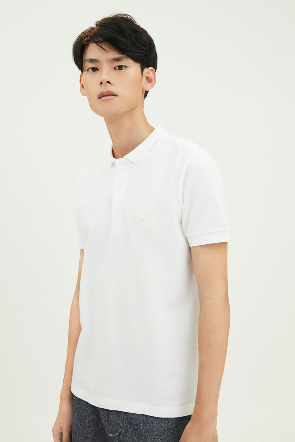PIQUE COTTON DOWN POLO SHIRT WITH LOGO TONE ON TONE EMBROIDED (S20MD03193WH1A)