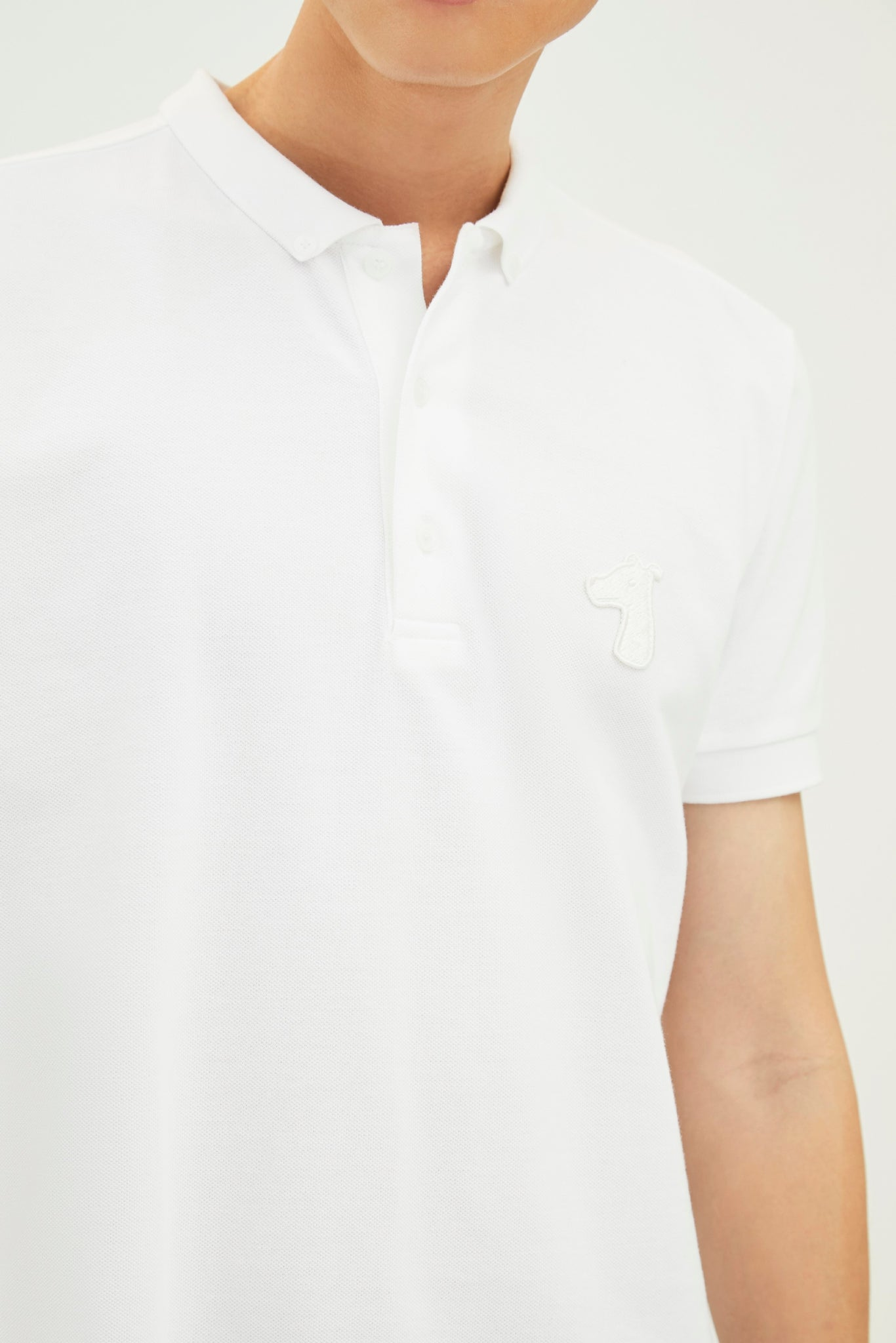 Load image into Gallery viewer, PIQUE COTTON DOWN POLO SHIRT WITH LOGO TONE ON TONE EMBROIDED (S20MD03193WH1A)