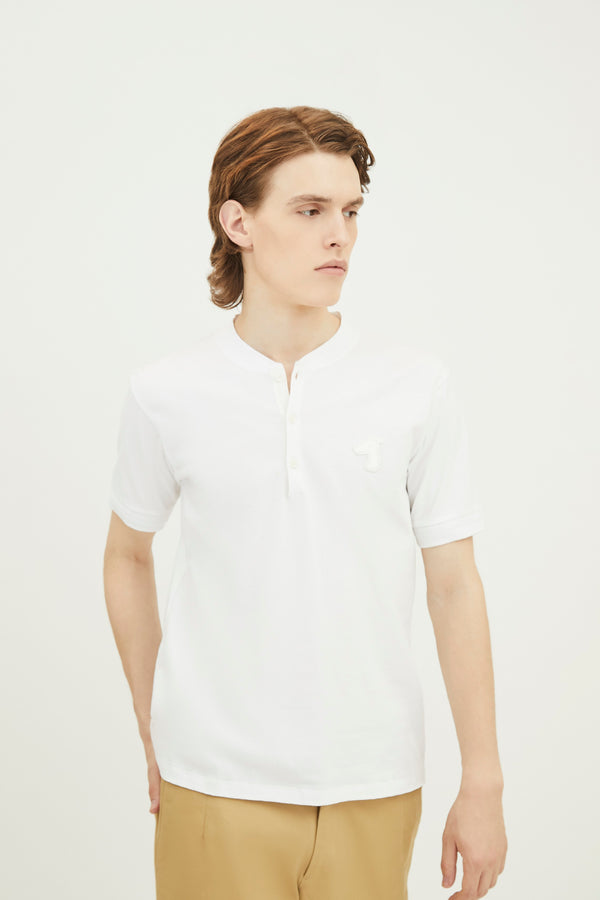 COTTON JERSEY HENLEY T-SHRIT  WITH LOGO EMBROIDED (S20MD03383WH1B)