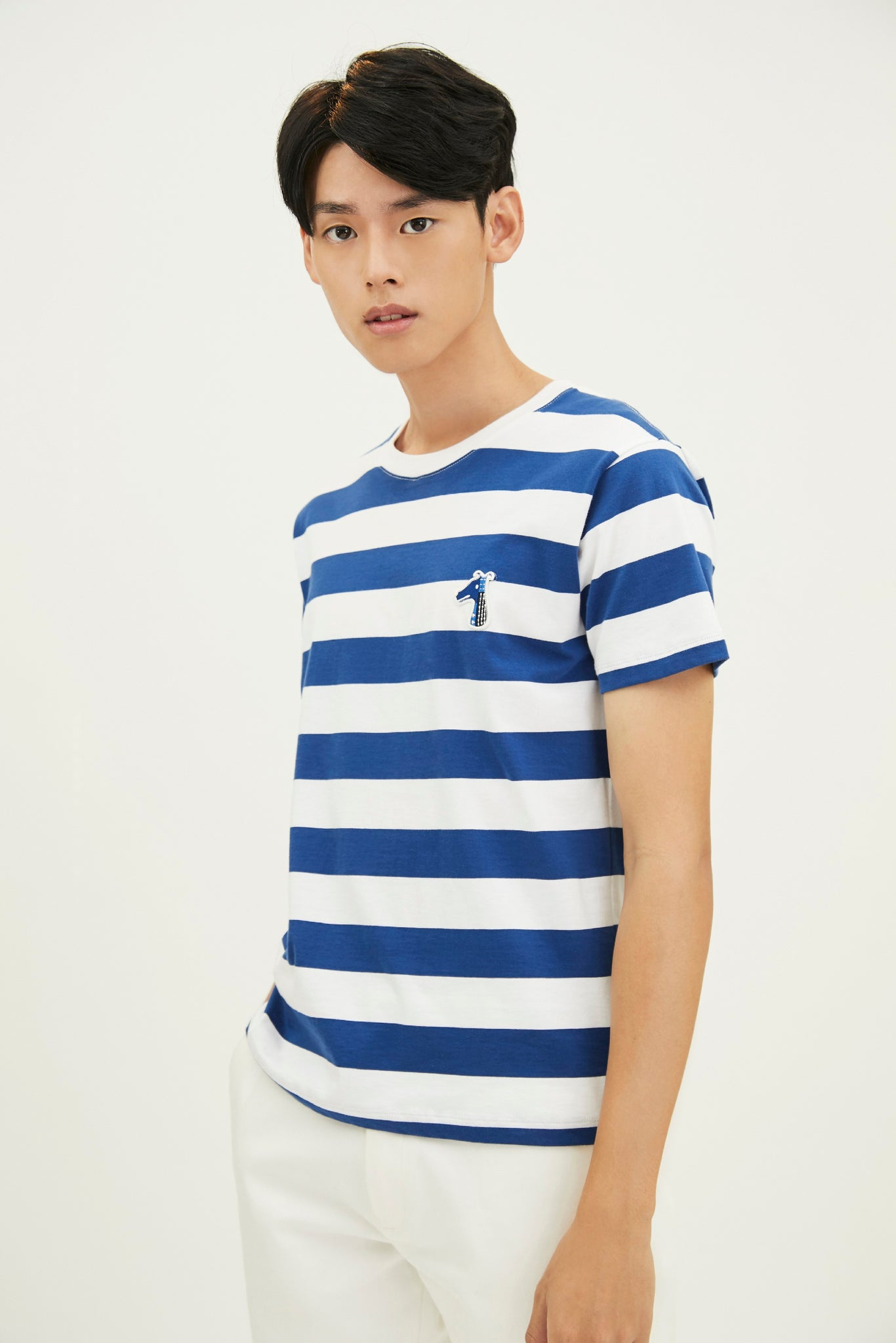 Load image into Gallery viewer, COTTON STRIPE T-SHIRT WITH LOGO EMBROIDED (S20MD03412NB1A)