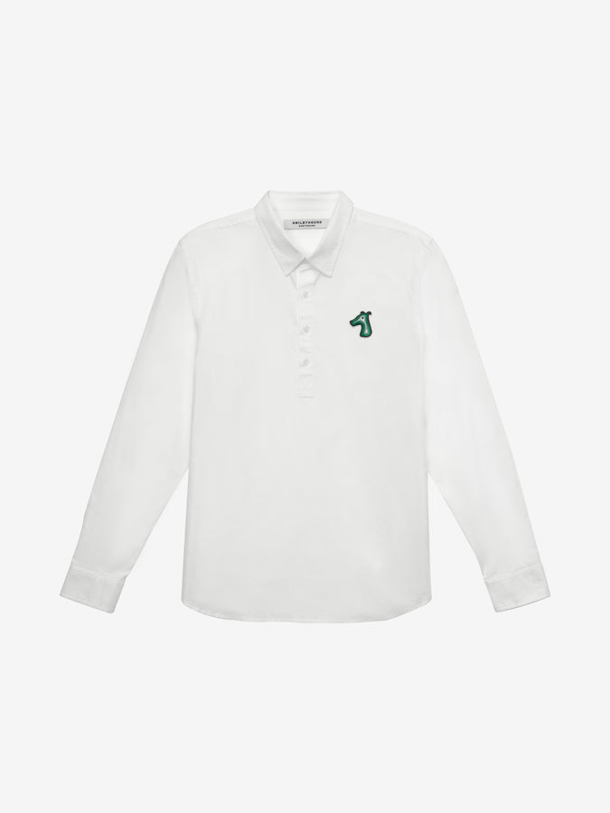 POPLIN SLIM POPOVER SHIRT WITH LOGO EMBROIDERED