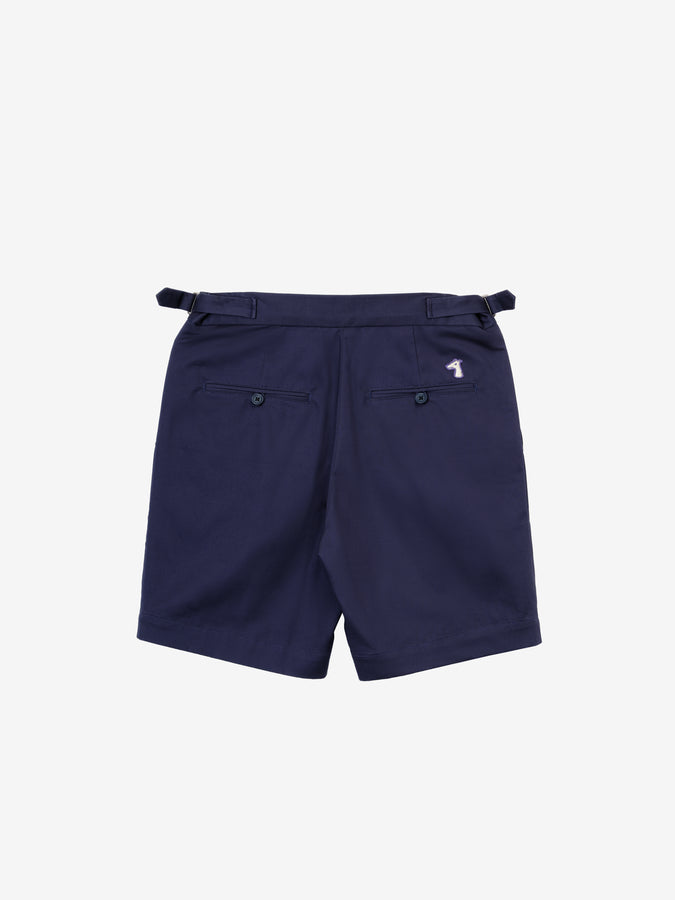 COTTON TWILL DOUBLE-PLEATED SHORTS WITH LOGO EMBROIDED