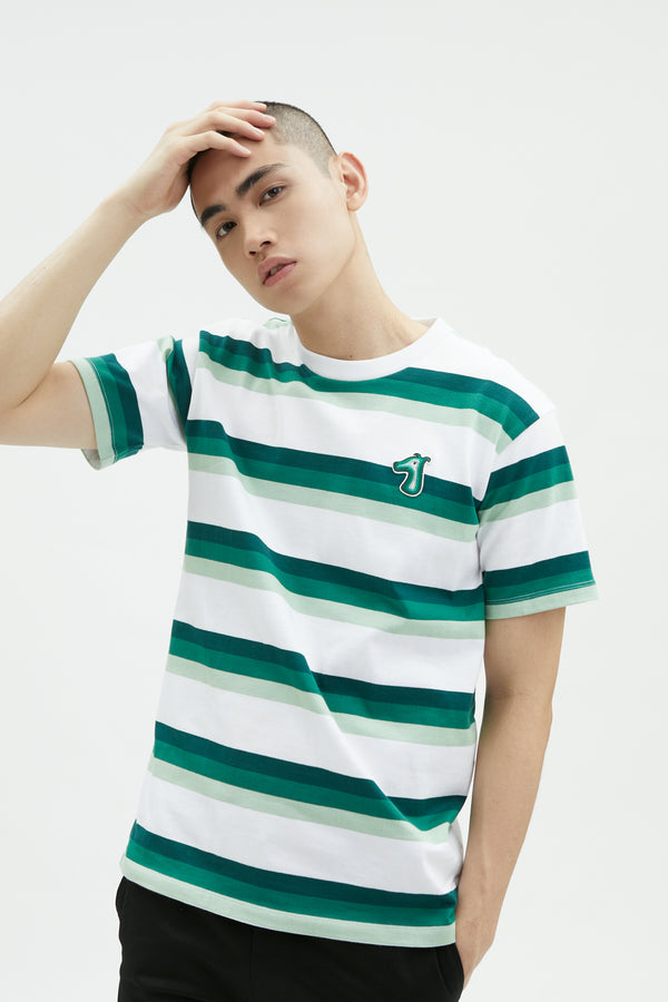STRIPED COTTON JERSEY T-SHIRT WITH LOGO EMBROIDERED