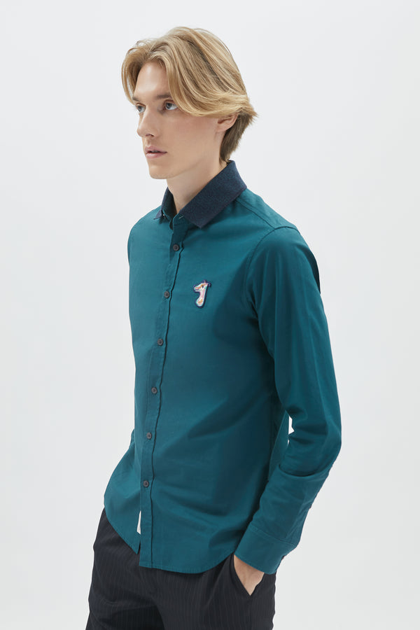RIB KNIT COLLAR OXFORD SLIM SHIRT WITH LOGO EMBROIDED