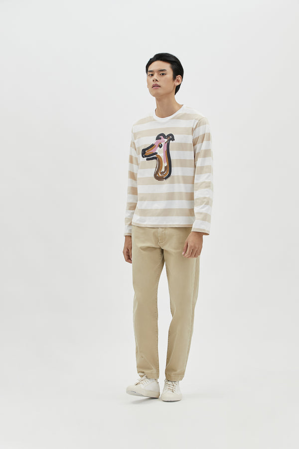 STRIPED COTTON JERSEY LONG SLEEVES T-SHIRT WITH LOGO-PRINT