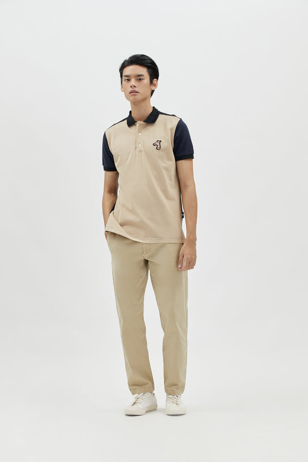 COLORBLOCKED PIQUE POLO SHIRT WITH LOGO EMBROIDED