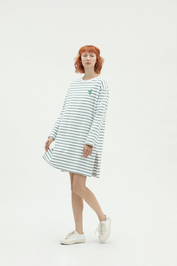 STRIPED COTTON JERSEY T-SHIRT DRESS WITH LOGO EMBROIDERED